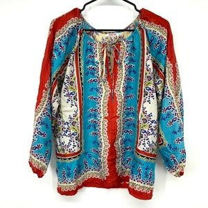Johnny Was Floral Tie Neck Long Sleeve Silk Top